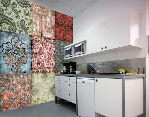 Selbstklebende Tapete - Fototapete Old Patterns Wallpapered - wandgestaltung mit drei farben