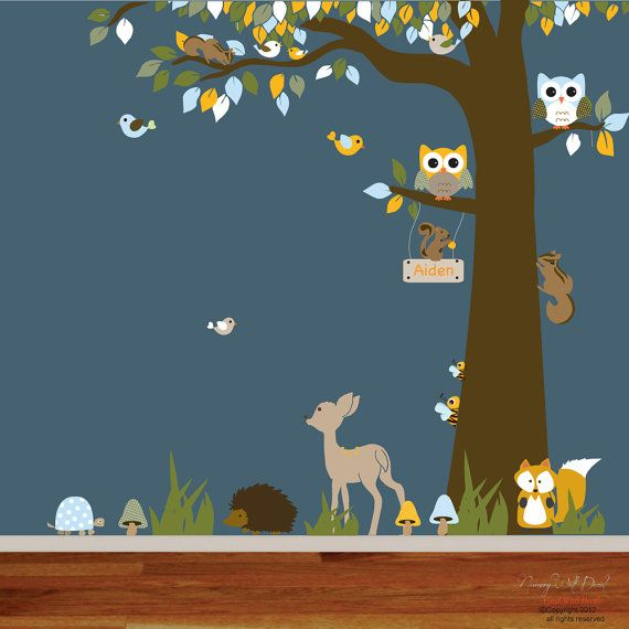 4 Cute Monkeys Wall Decals Sticker Nursery Decor Mural: Cute Jungle Nursery Vinyl Decal Tree Set.Great Addition To