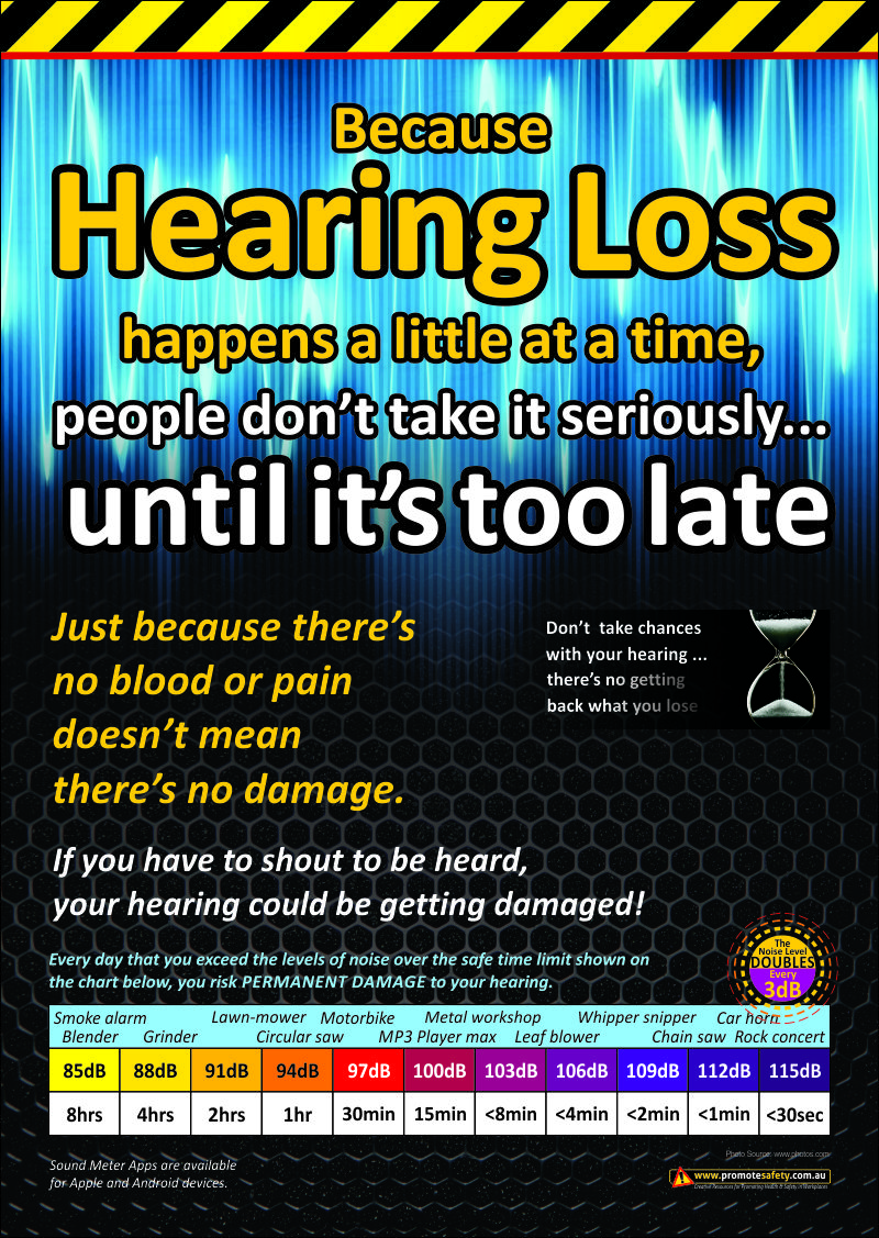 A3 Size Workplace Safety Poster With Information To Help Workers Protect Their Hearing Workplace Safety Health And Safety Poster Health And Safety