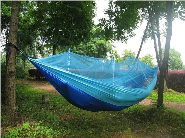 1574166d3fa Ultralight Outdoor Camping Hunting Mosquito Net Parachute Hammock 2 Person  Flyknit Hamaca Garden Hamak Hanging Bed Leisure Hamac