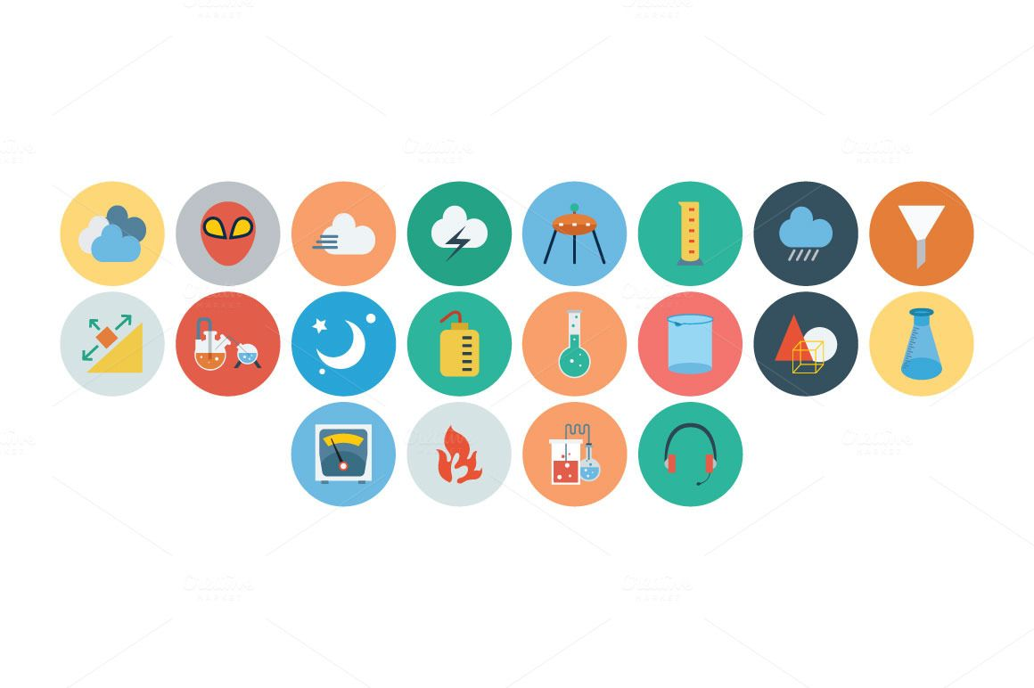 100+ Science & Technology Flat Icons by Creative Stall on Creative Market