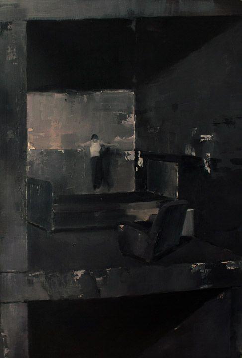 "Adrian Ghenie - ""Anxious to Jump"", 2007, oil on canvas, 118 X 79 cm. Photo: Nicodim Gallery"
