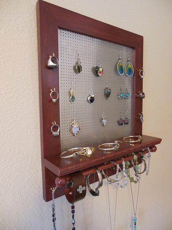 Jewelry Holder Wall Jewelry Organizer Mahogany Stained Wood