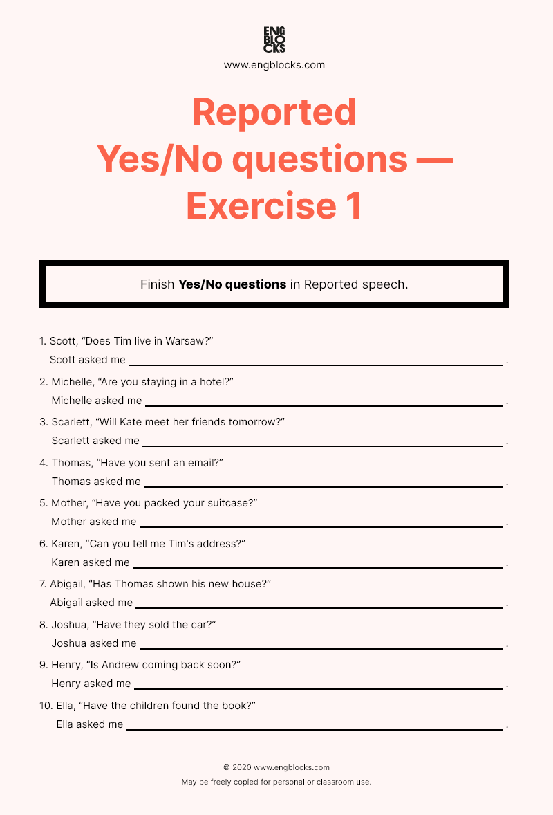 Reported Yes/No questions — Worksheet 1 in 2020 Yes or