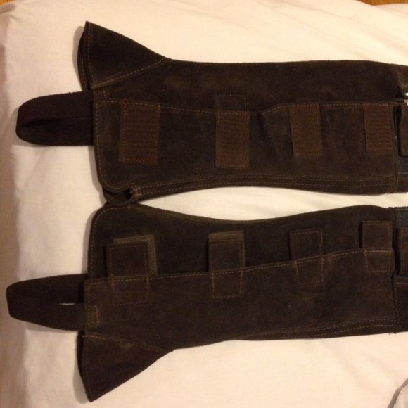 """Half chaps Chocolate brown suede half chaps for horseback riding. Size XS. These fasten with Velcro on the side. They are too tight on me and have never been worn. (My calves are 13"""") Other"""