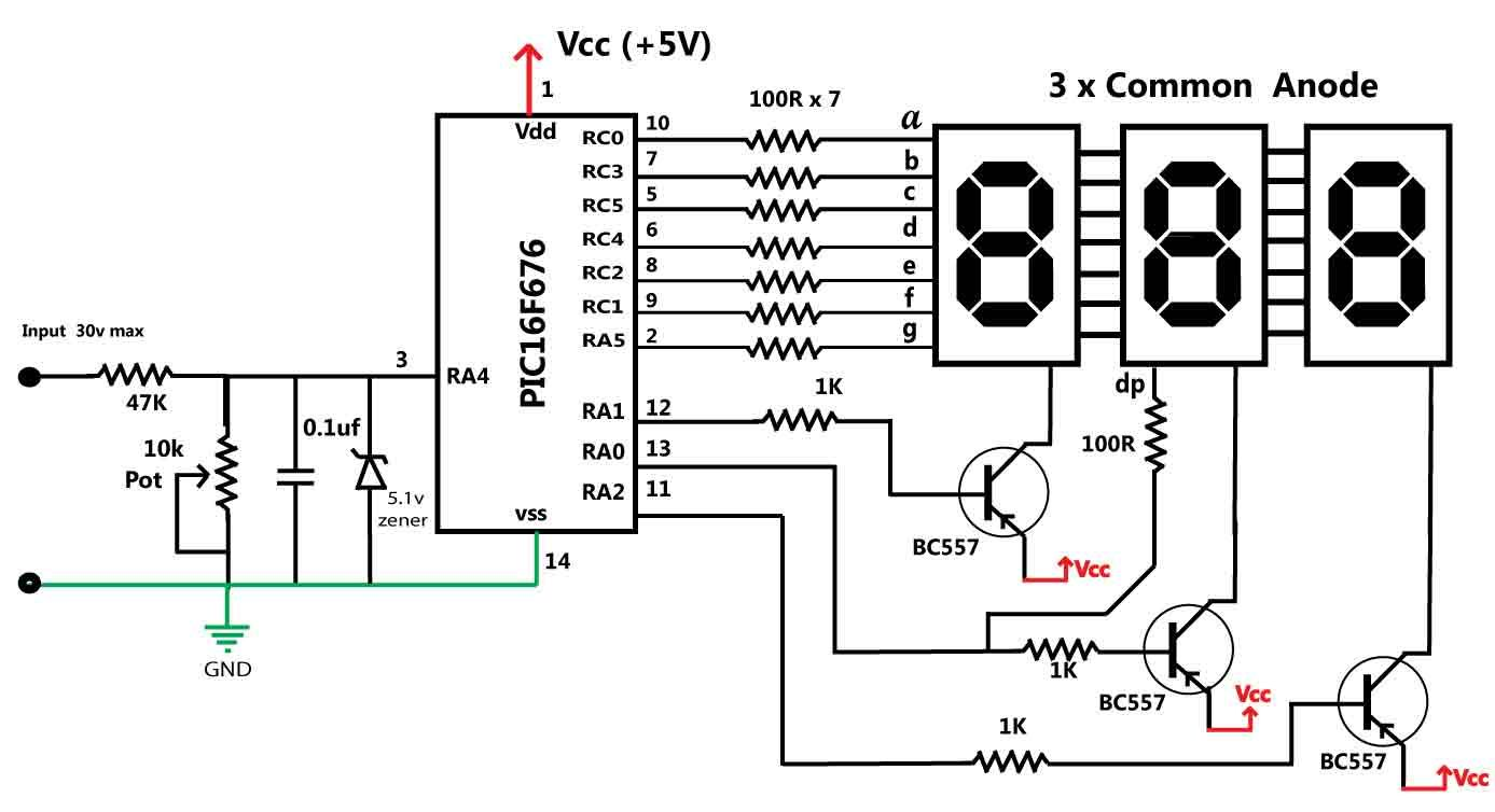 30v volt meter with pic16f676 schematic