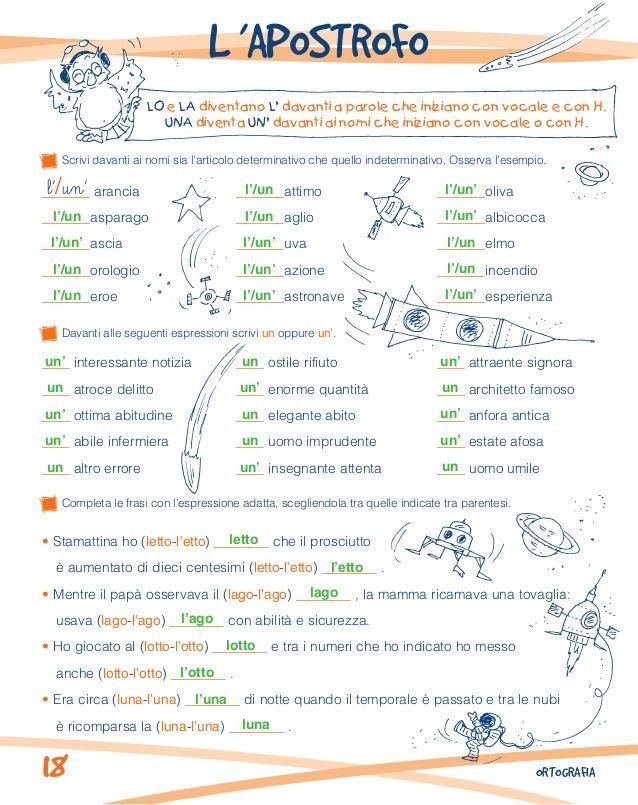 Risultati immagini per parole con l 39 apostrofo e non scuola primaria lingue school teaching - Parole con significati diversi ...