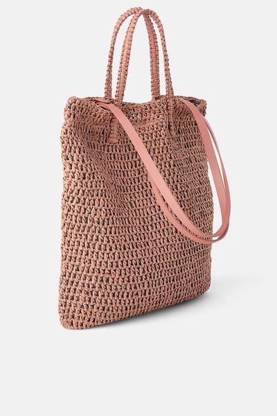 ce5441d028c ZARA - Female - Woven paper shopper - Light pink - M | Products ...