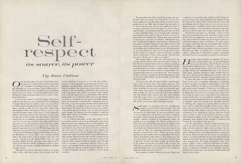 On Self-Respect: Joan Didion's 1961 Essay from the Pages of | to ...