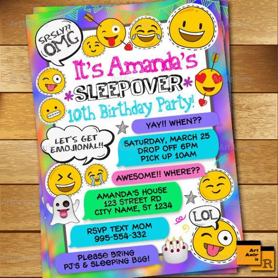 Sleepover Invitation Emoji Slumber Party Pajamas Girls Printables R 174