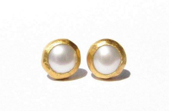 Pearl Gold Studs 24k Solid Earrings Post Stone Made To Order