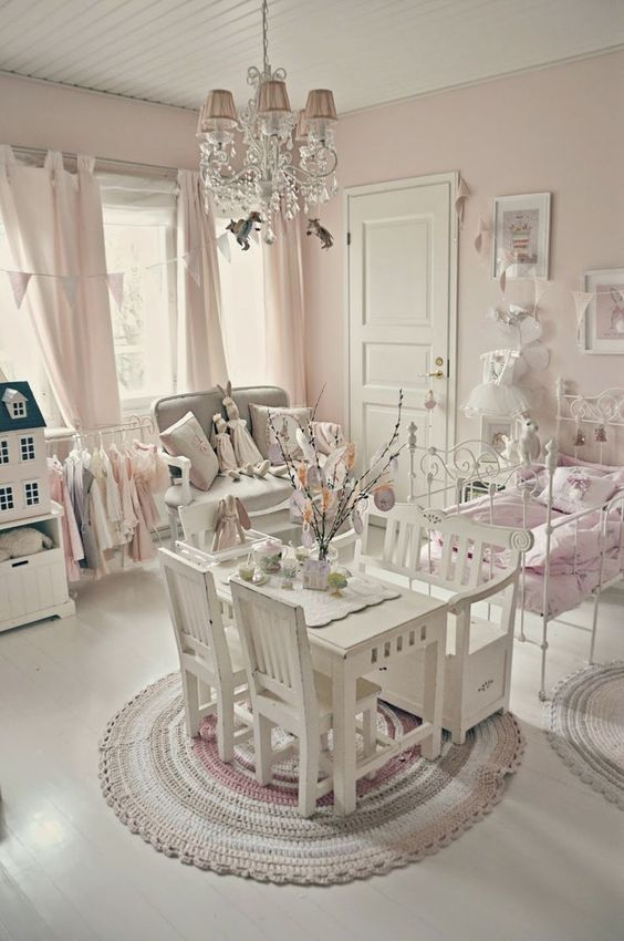 Shabby Chic Pink And White Little Girlu0027s Room. Love The Antique Iron Bed  Painted White, Dollhouse, Tiny Table And Chairs Everything!