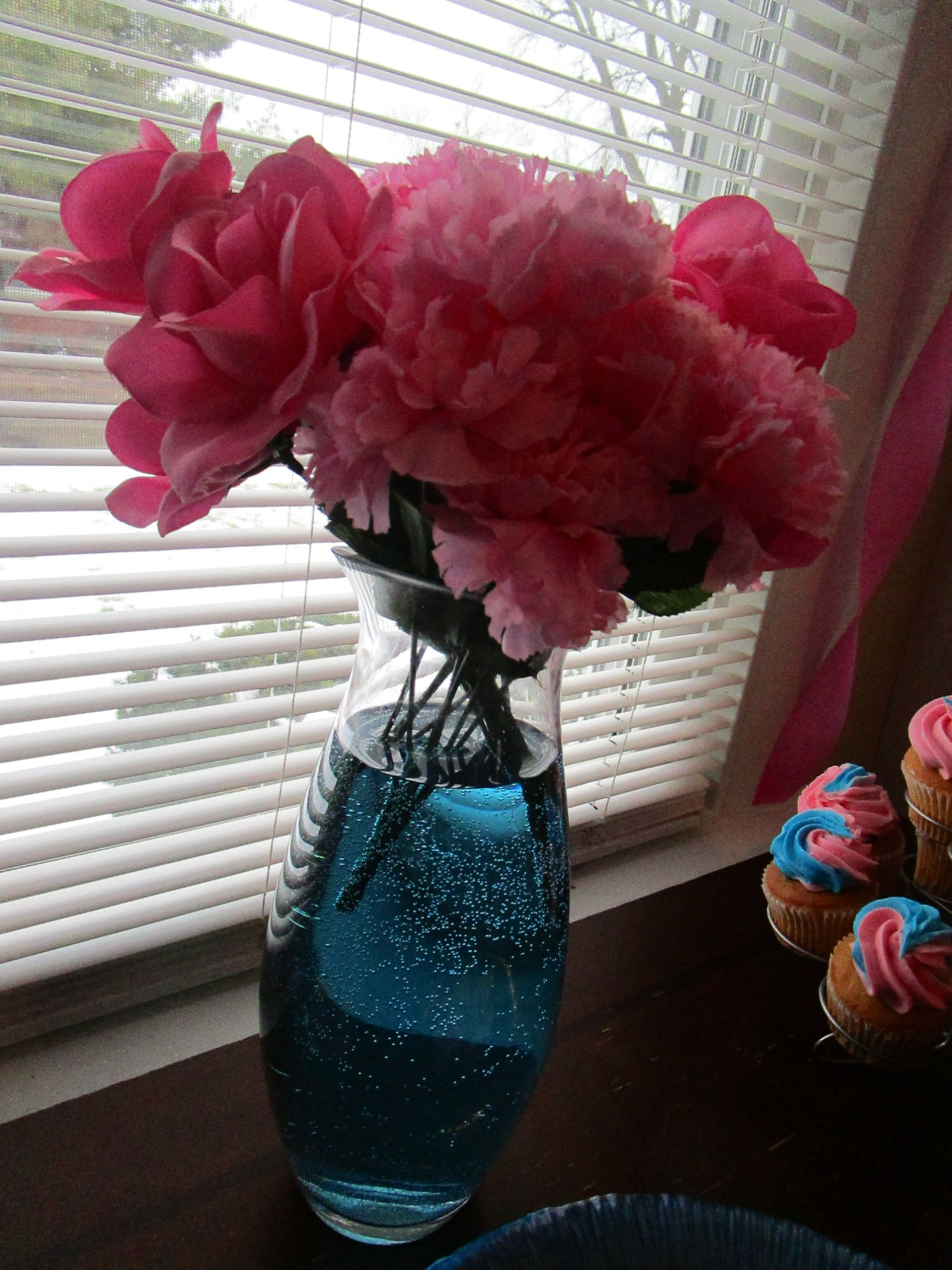 Gender Reveal Party Cheap Decorations - pink flowers bought at ...
