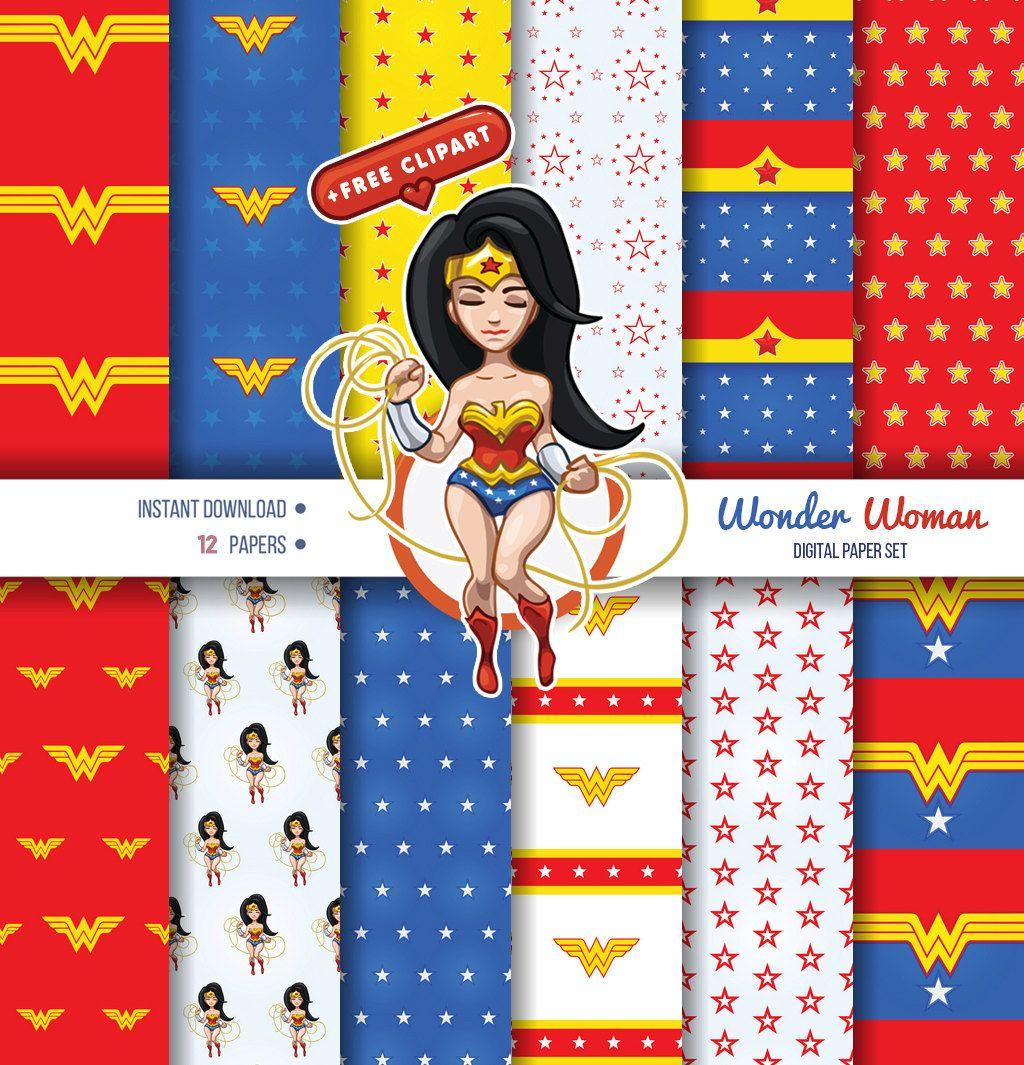 Wonder Woman 12x Digital Paper, Avengers Digital Papers