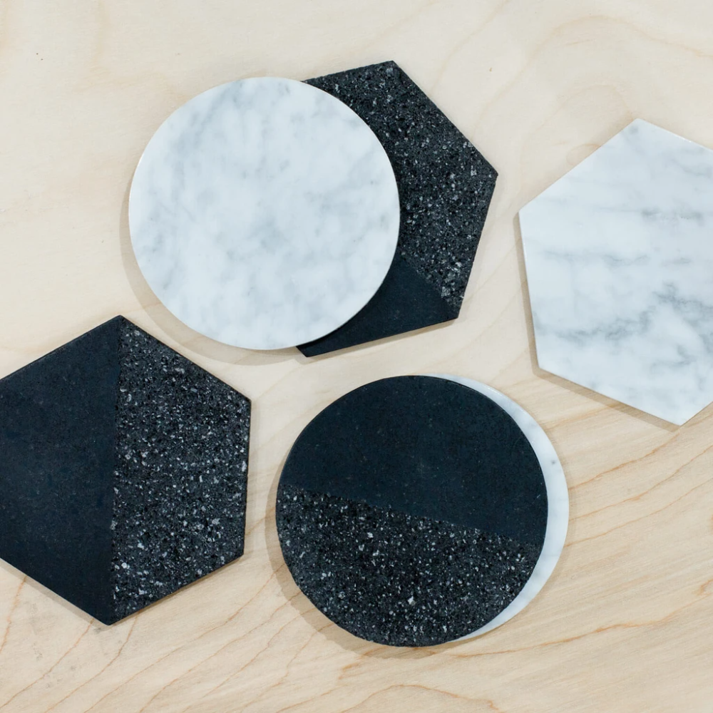 Coaster Set Of 6 White Marble Black Volcanic Rock In 2020 Marble Coasters Coaster Furniture The Citizenry