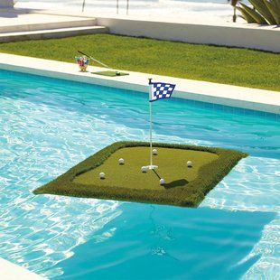 me..this looks like a good place to practice, what do you think cheerleader/caddie, grab my putter, tushy taps underwater