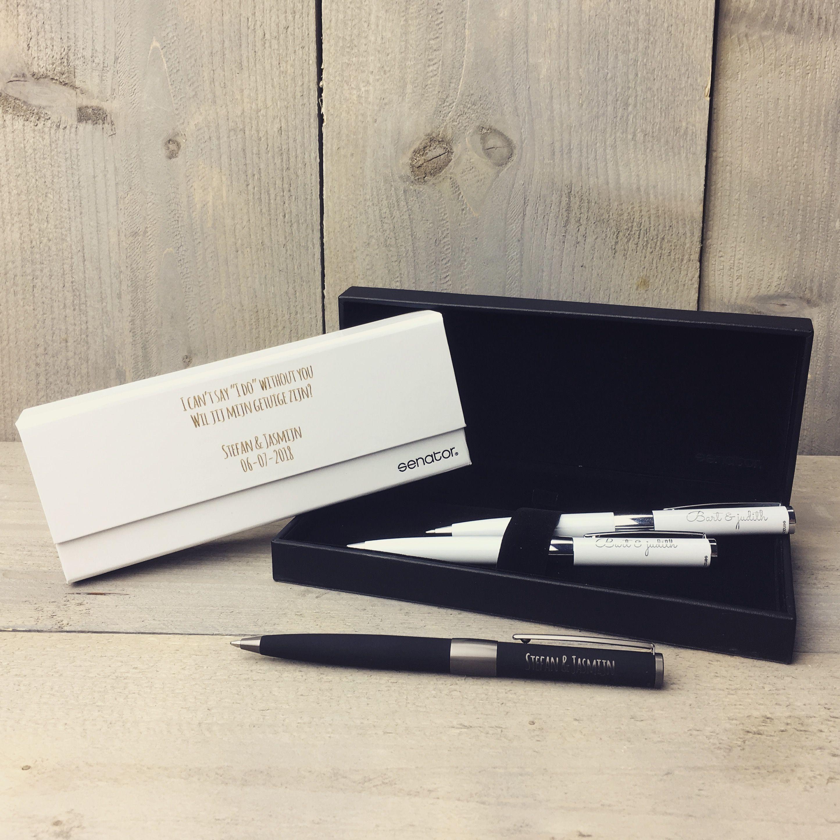 Luxe pennenset als cadeau voor de getuigen op jullie