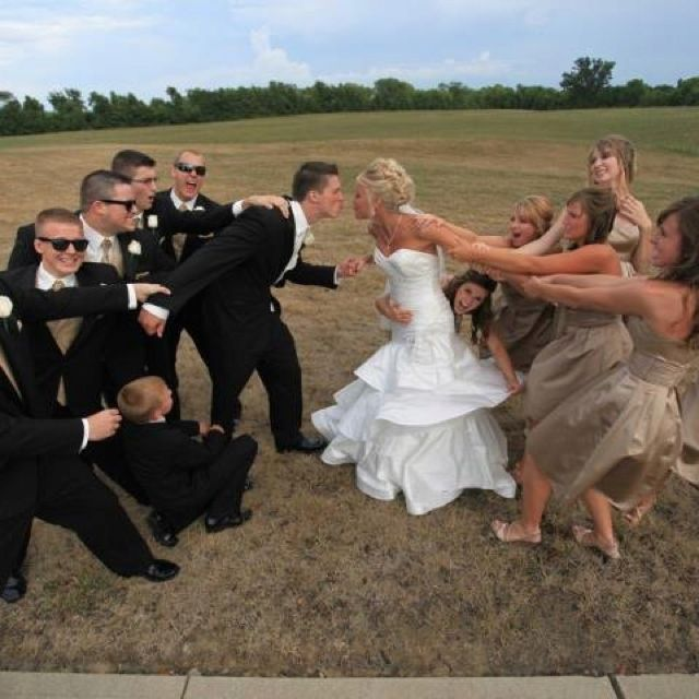 Cute Wedding Photography Ideas: Lol Cute! Groomsmen And Bridesmaids Fighting Over Bride