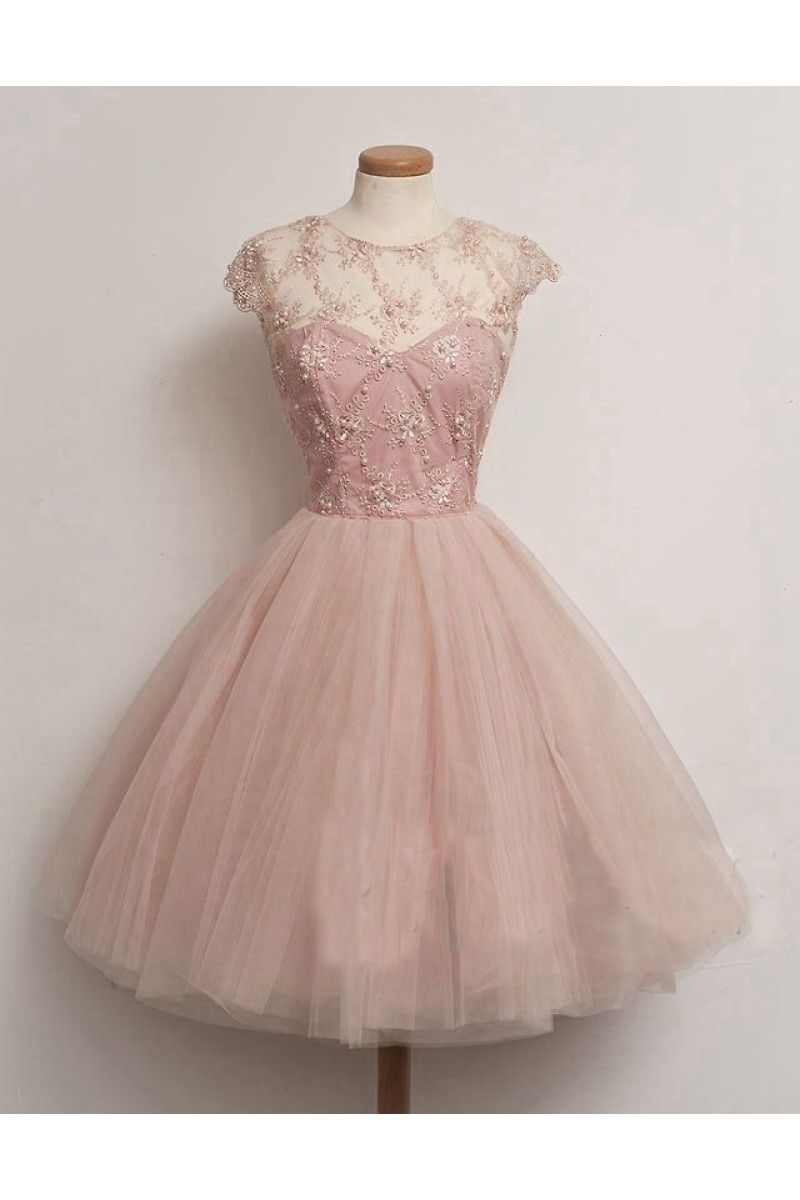 Shop Beaded Skin Pink Zipper Tulle Cocktail Dress Nz Online Prom Dresses Short Pink Prom Dresses Cheap Prom Dresses