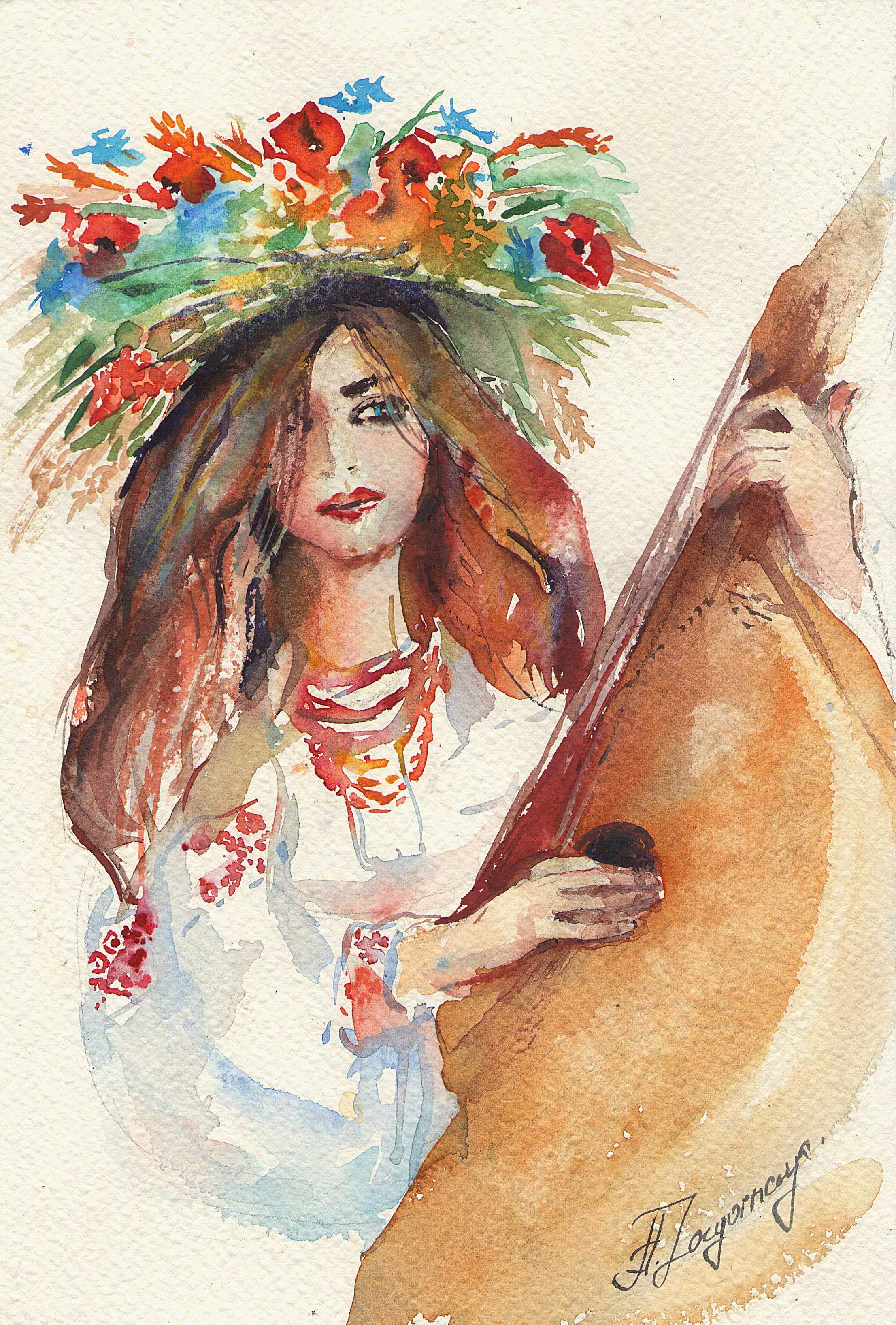 Ukrainian Song Watercolour Painting On Paper Artist Anna
