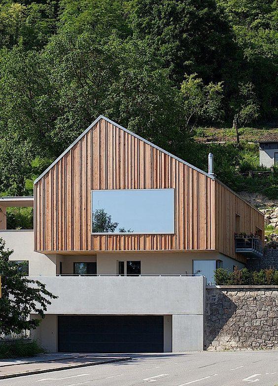 Architektur Ein modernes BetonWohnhaus an der Donau