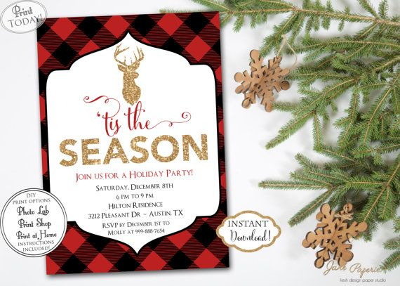 INSTANT DOWNLOAD - Buffalo Plaid Christmas Party Invitation - Deer Antler Glitter Buffalo Check Invite - Red Black Flannel - Holiday Party. Find more coordinating printables at JanePaperie: https://www.etsy.com/shop/JanePaperie
