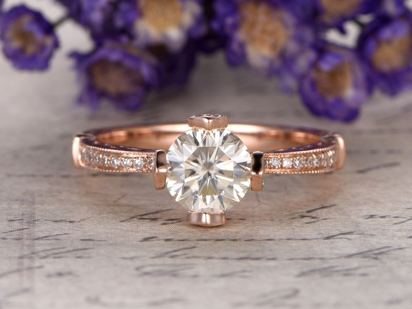 Mm round cut ctw moissanite and diamond engagement ring k rose