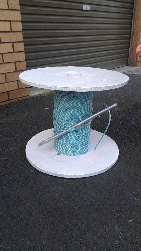 Giant cotton reel coffee table, made from an old electrical cable ...