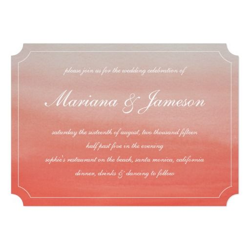 Sunset Beach Wedding Ideas: Coral Fade Sunset Beach Wedding Invitation By Becky Nimoy