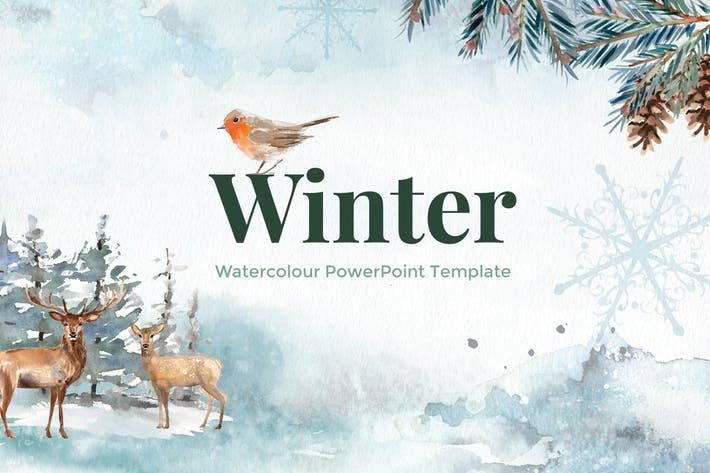 Winter Watercolour PowerPoint Template #tree #graphics \u2022 Download - winter powerpoint template