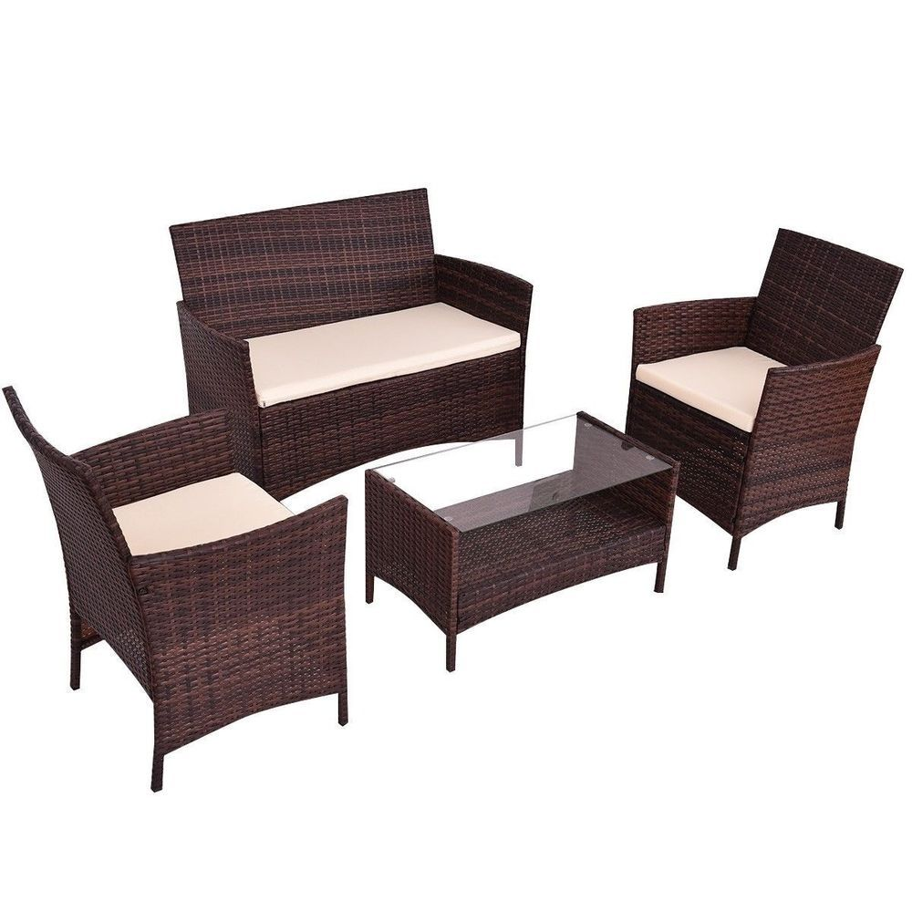 Outdoor Patio Rattan Furniture Garden Set With Cushions Chair