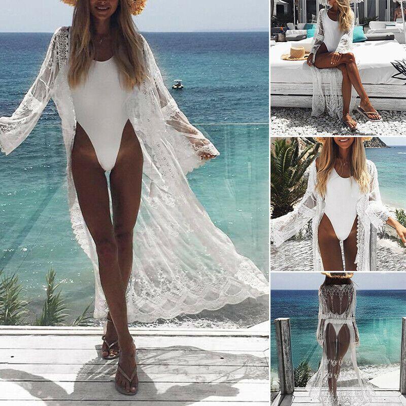 Playa de la Mujer Bikini Traje de Baño Vestido Pareo Maxi Tiras Túnica Verano