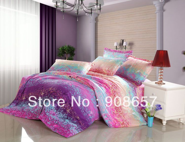 Purple Pink Blue Omber Abstract Prints Cotton Bedding Girls Bed Linens Bed Set Queen Full Quilt Duvet Covers Bed Linen Design Bed Linens Luxury Bed Linen Sets