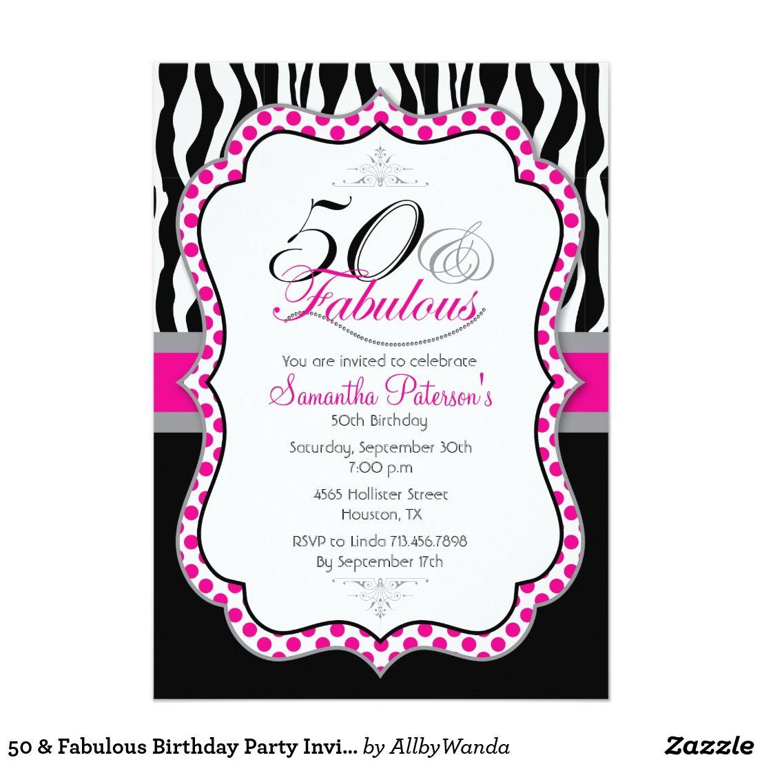 50 & Fabulous Birthday Party Invitation | { Happy Birthday ...