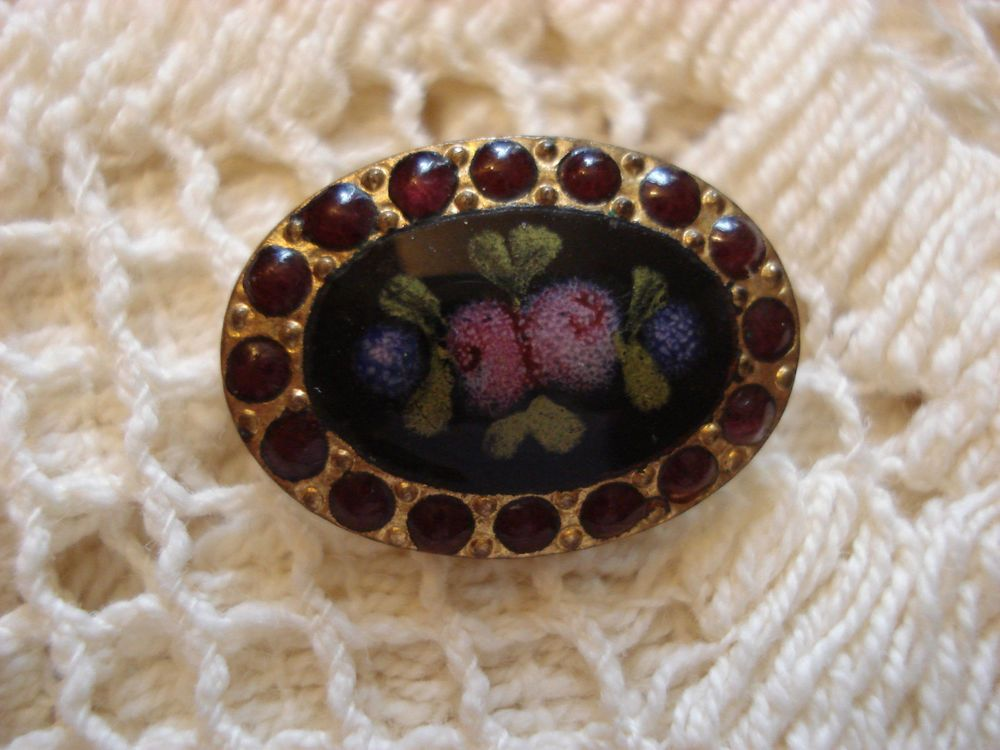 Antique French Enamel and Gilt Brass Oval Button - Cobalt Blue & Pink Roses #2