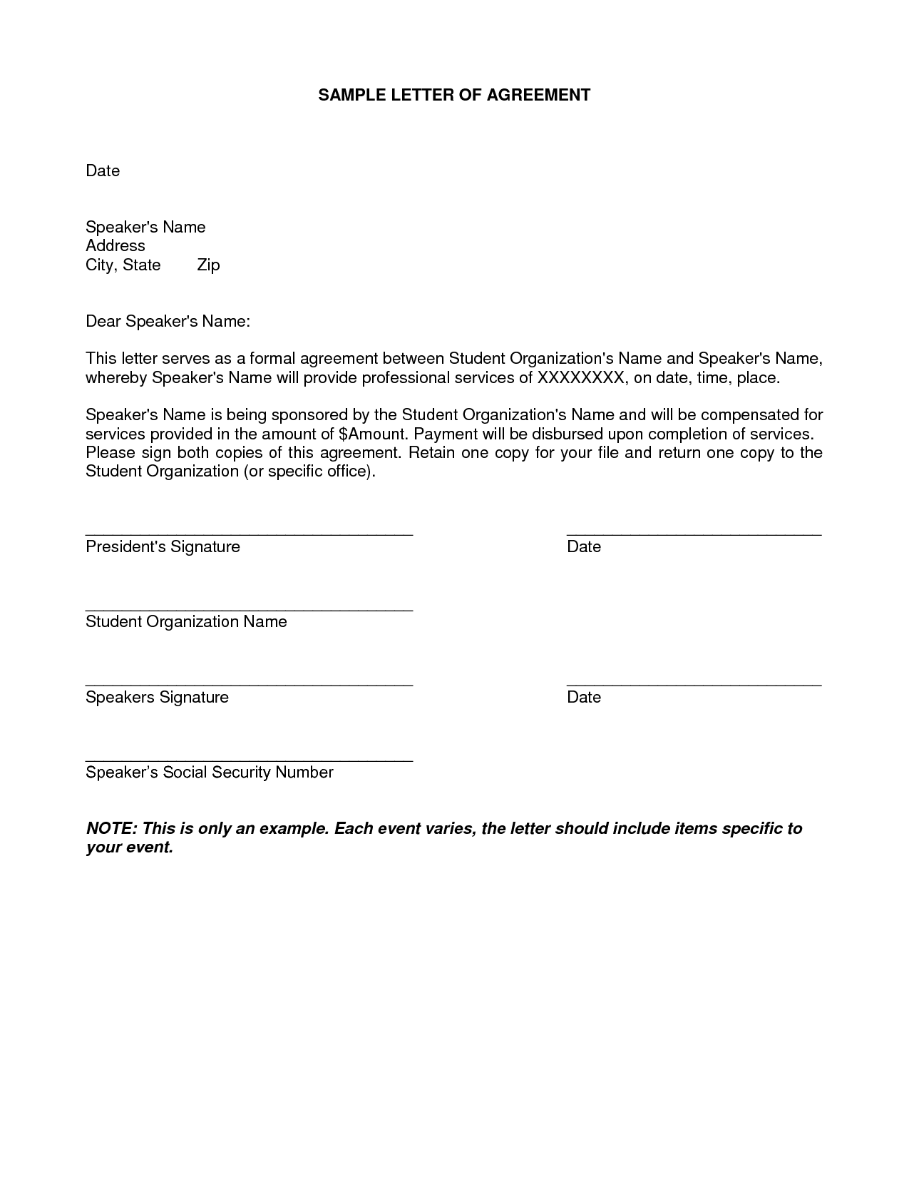 Letter Of Agreement Samples Template Seeabruzzo Letter