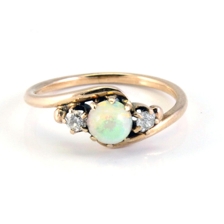14k Antique Art Nouveau Gold Fire Opal And Diamond Ring