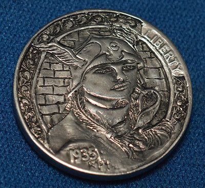 Hobo Nickel 1935 Origanal Hand Engraved by Ronald Proulx  