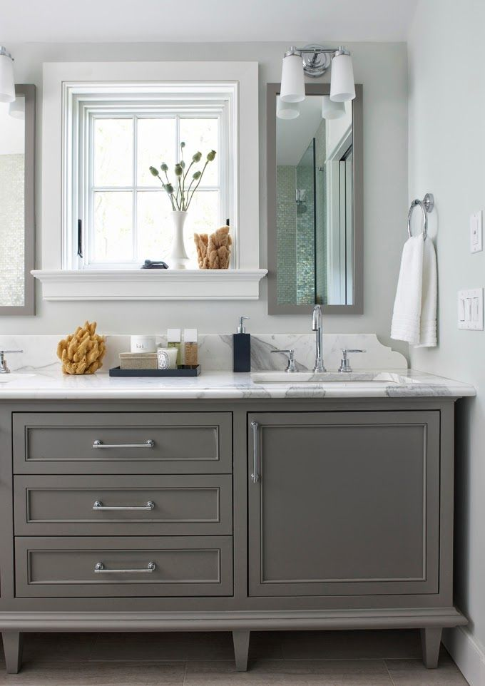 Bathroom cabinets painted in 39 boothbay gray 39 from benjamin for Grey bathroom cupboard