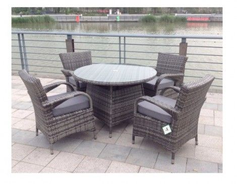 paradise 4 seater round grey rattan garden furniture dining set - Garden Furniture 4 Seater
