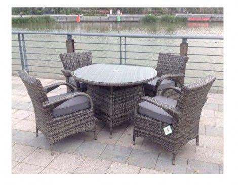 Paradise 4 Seater Round Grey Rattan Garden Furniture Dining Set