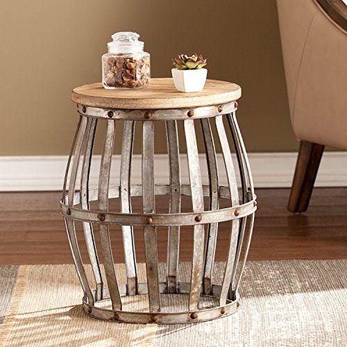 Genial End Table Tucker Features Wine Barrel Shape, Galvanized M... Https:/