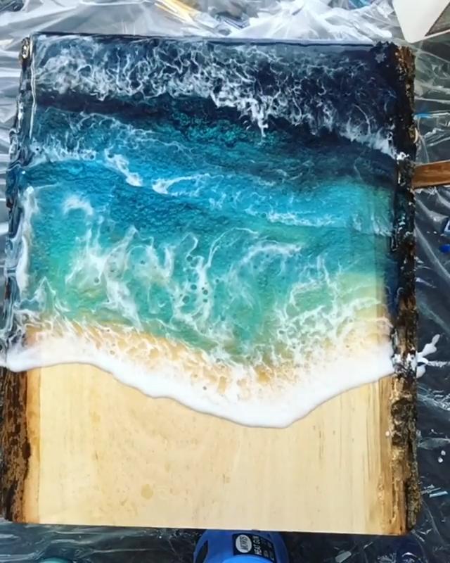 Photo of DIY Resin Art Ocean Waves Art Mica Powder Tutorial