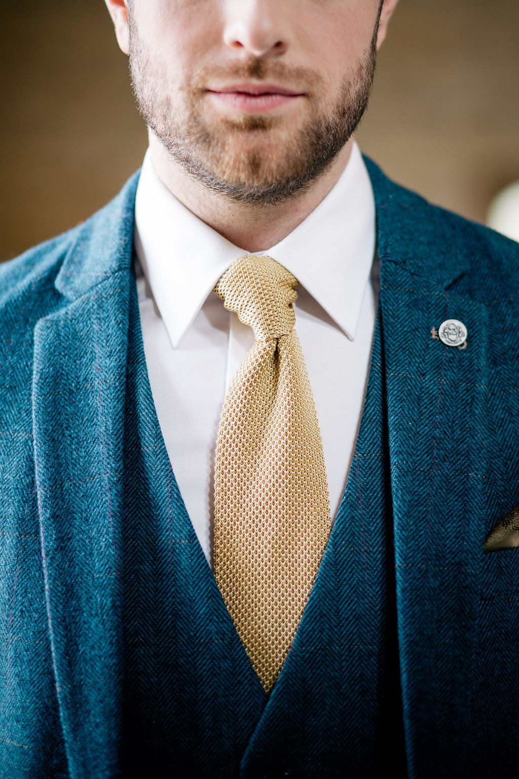 e24fd7475673 Knitted Groom Suit Blue Mustard Tie Badge Pin Lapstone Barn Wedding Ideas  Cotswolds Katie Hamilton Photography #wedding #Groom #Suit #Blue #attire  #outfit
