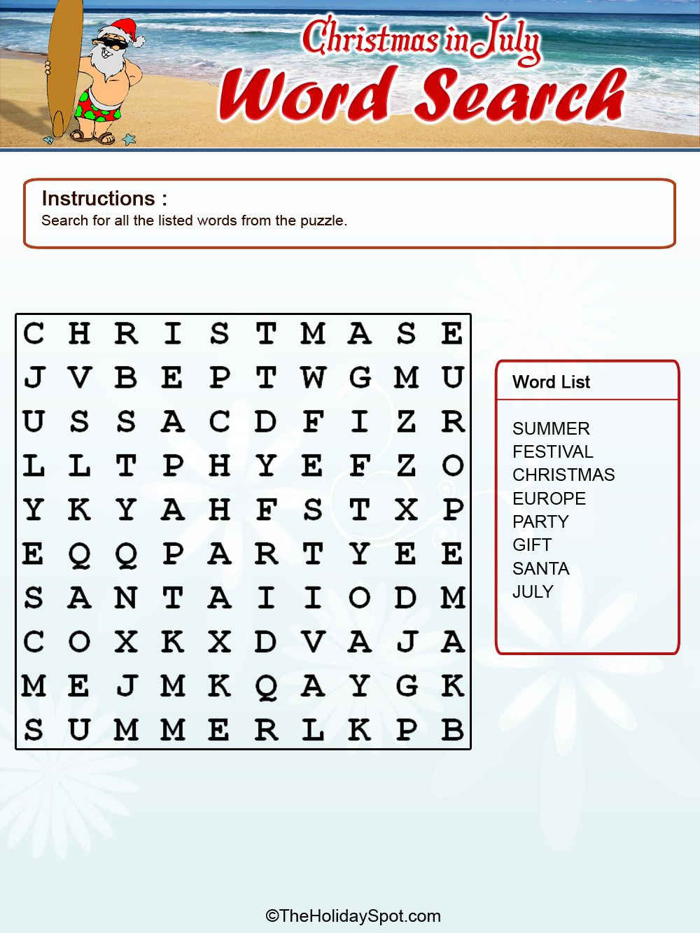 christmas in july activities christmas in july color word search template
