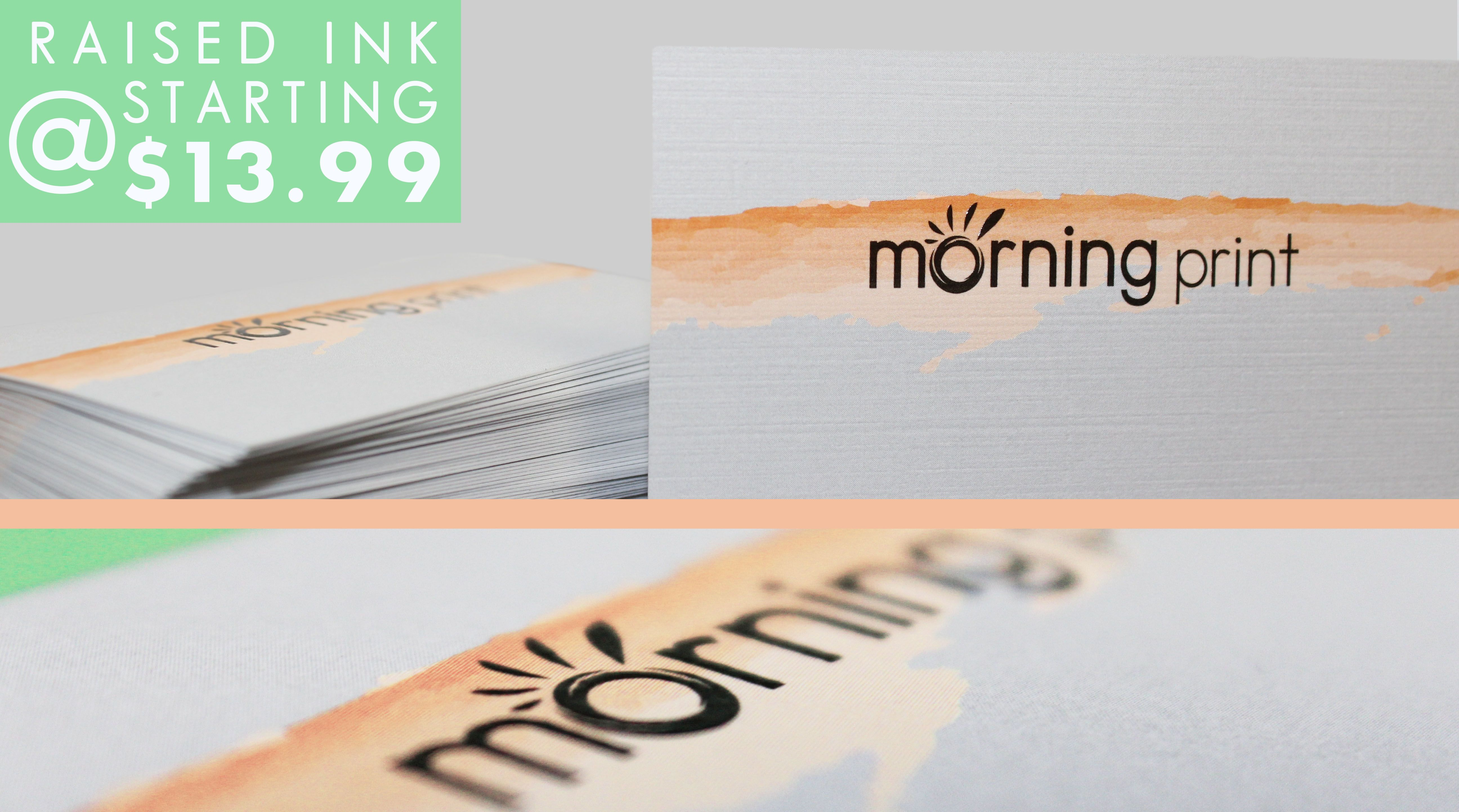 raise the bar with our raised ink finishing option printing
