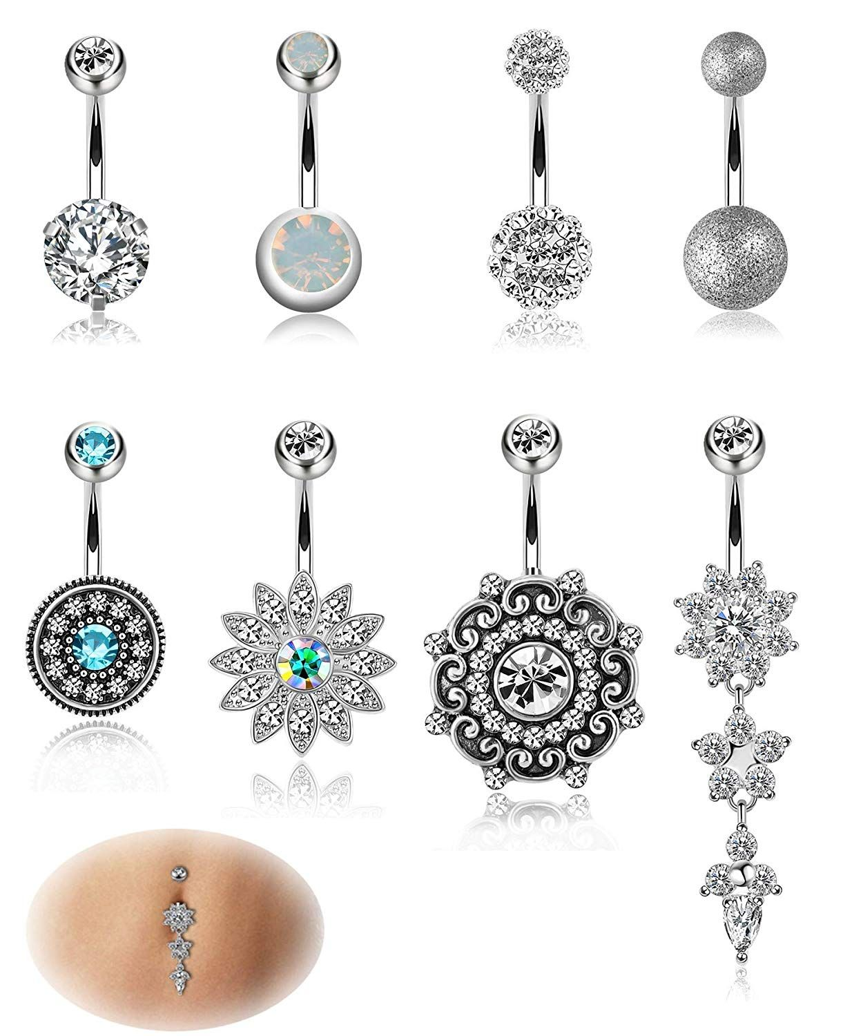 Gem Anchor Belly Button Bar Navel Ring Dangle Barbell Body Piercing Jewellery