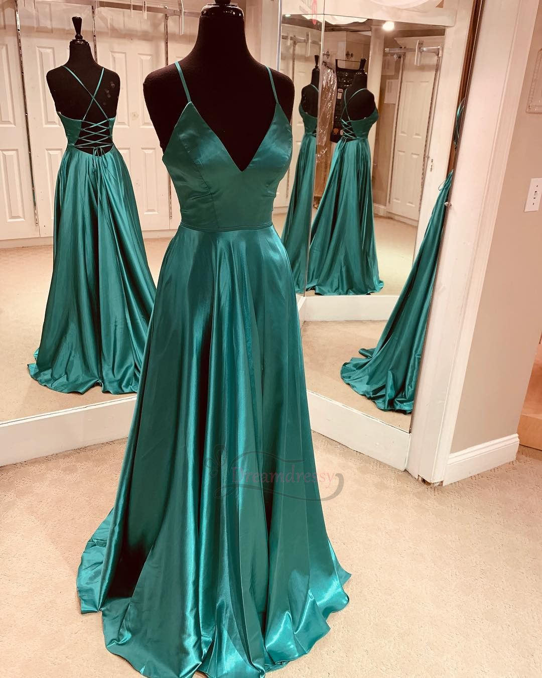 Simple Green Long Prom Dress With Lace Up Back Teal Prom Dresses Long Lace Up Back Dress Cute Prom Dresses [ 1350 x 1080 Pixel ]