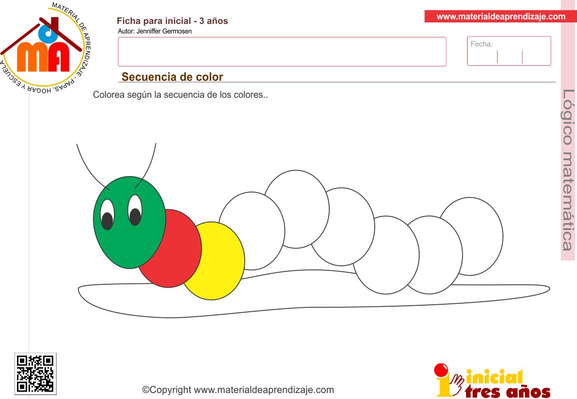 Secuencia de color para niños a partir de los 3 años. Colorea según ...
