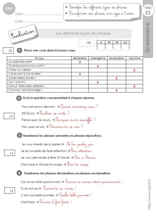 cm1: Evaluation Les types de phrases   Types de phrases, Cm1, Exercice grammaire ce1